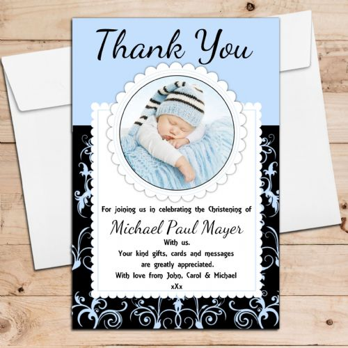 10 Personalised Boys Birth / Christening / Baptism Thank you PHOTO Cards N240